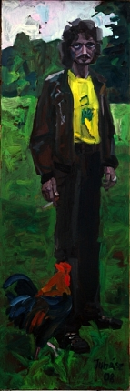 Man with a cock, 2008, oil on wood-fibre, 180 x 60 cm