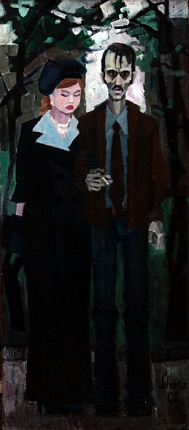 Man and woman, 2008, oil on wood-fibre, 180 x 80 cm