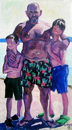 Veteran wrestler with his sons, 2013, oil on wood-fibre, 170 x 90 cm