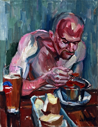 Chowder eating, 2012, oil on canvas, 90 x 70 cm